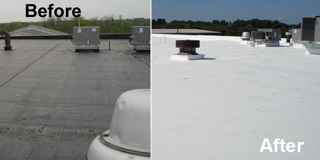 Before and after Single Ply Roof Restoration by MAST Roofing